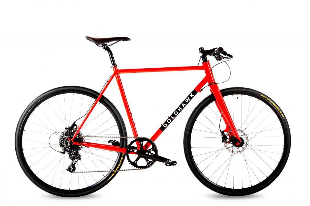 Goldhawk Rodax red steel urban flat bar bike with Reynolds 520 tubing